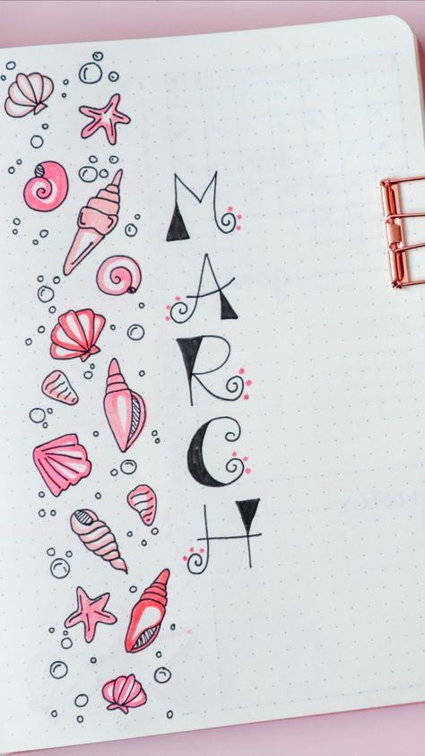 March Bullet Journal Setup - Seashell Theme