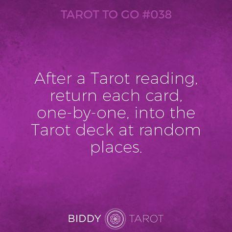 Tarot To Go #38 After a Tarot reading, return each card, one-by-one, into the Tarot deck at random places. #tarot #tarottogo #tarotreadersofinstagram #tarottutorials #intuition #biddytarot #tarotcards #tarotreading #tarotcard #tarotmeanings #tarotcardmeanings #tarotlessons #learntarot