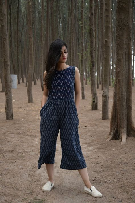 Blue Ikat Jumpsuit from the house of Threeness. Featuring a simple and elegant blue an