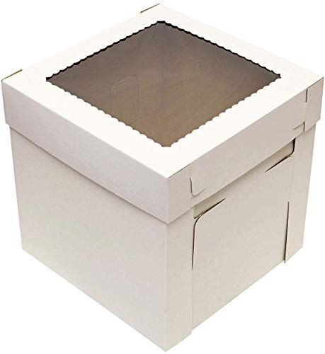 Beautiful Specialt Cake Boxes With Window 25pk 10 X 10 X 8in White Bakery Boxes Disposable Cake Containers Dessert Boxes In 2020 Dessert Boxes Bakery Boxes Box Cake