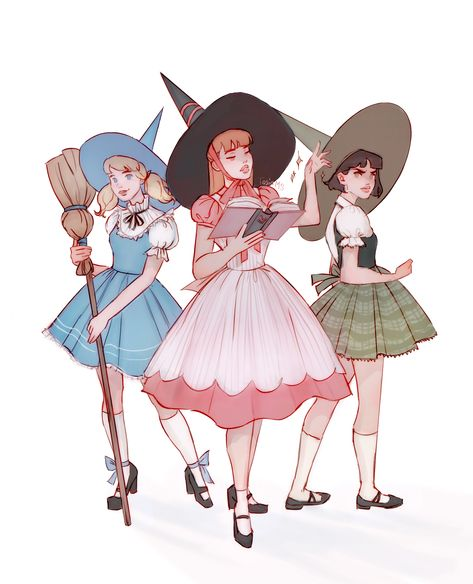 """the powerpuff girls as vintage witches"" Pretty Art, Cute Art, Super Nana, Witch Drawing, Arte Do Kawaii, Poses References, Vintage Witch, Witch Art, Cartoon Art Styles"