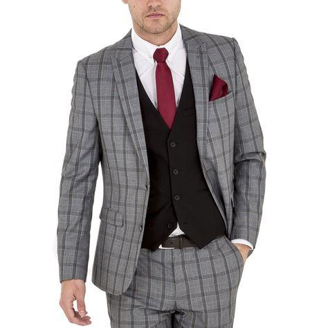ea60fca911f7 HARRY BROWN Skinny Fit Grey Check Three Piece Suit - Three Piece Suits -  Mens Suits - Suits   Tailoring