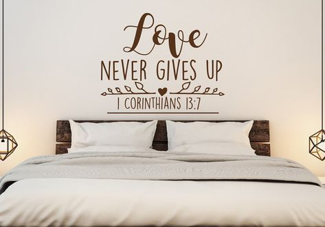 Love Never Gives Up 1 Corinthians 13 7 Christian Wall Decal Love Wall Decal Scripture Wall Decal Bedroom Family Decor Vinyl Letering 84 Scripture Wall Decal Christian Wall Decals Wall Quotes Decals