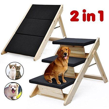 Folding 2 In 1 Pet Ramp Stairs For Dogs Cats Pet Steps Ladder Animal Portable Walmart Com In 2021 Pet Ramp Pet Stairs Dog Stairs