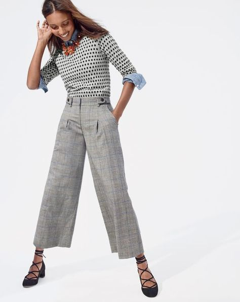 J.Crew women's Tippi sweater in jacquard dot, pleated cropped wide-leg pant in glen plaid, dahlia necklace and lace-up heels in suede.