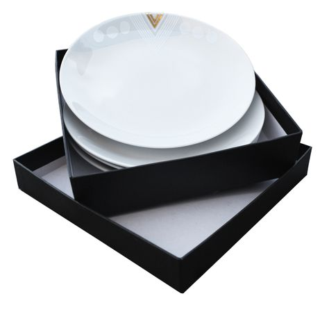 White Noise by Alyson Fox for Ink Dish 4 Side Plate Gift Set