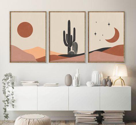 Diy Canvas Art, 3 Piece Canvas Art, Canvas Painting Tutorials, Small Canvas Art, Mid Century Modern Art, Mid Century Art, Modern Art Prints, Modern Canvas Art, Framed Art Prints