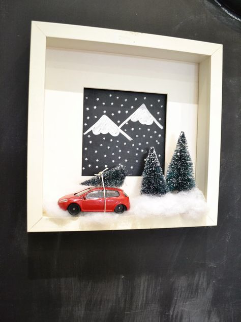 mommo design: XMAS DIY - Adorable Christmas shadow box DIY with a tree on a little toy car. So cute!