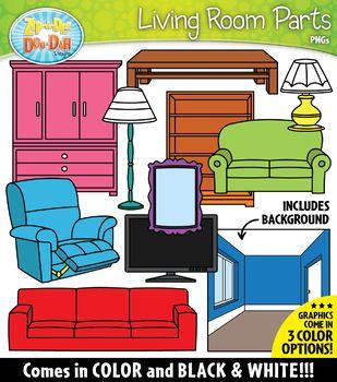 Living Room Parts Of A House Clipart Zip A Dee Doo Dah Designs House Clipart Room Accessories Clip Art