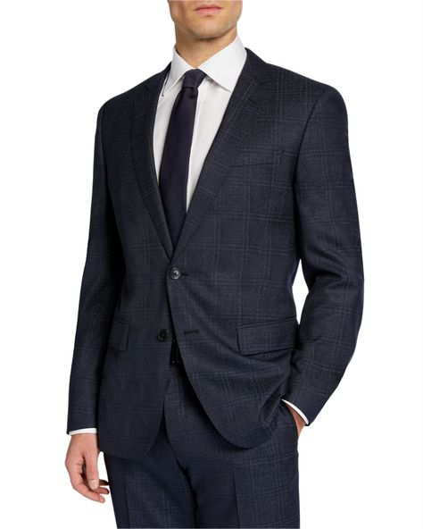 da0179556 BOSS MEN'S CHECK WOOL TWO-PIECE SUIT WITH CROPPED TROUSERS. #boss #cloth