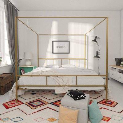 King Marion Canopy Bed Gold Novogratz In 2020 Canopy Bed Frame