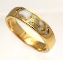 Gents Gold Quartz Ring with Natural Nugget side panels Mens