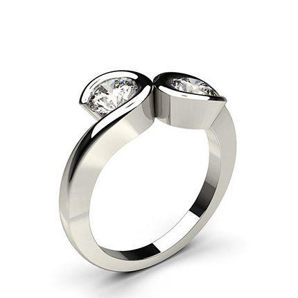 Buy Semi Bezel Setting Plain Two Stone Ring Online Uk Diamonds Factory Diamond Rings Design Bezel Set Ring Stone Ring Design
