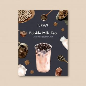 Download Matcha And Brown Sugar Bubble Milk Tea Set Poster Ad Flyer Template Watercolor Illustration For Free In 2020 Bubble Milk Tea Milk Tea Bubble Tea Menu