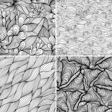 Set of four seamless abstract hand-drawn pattern, waves background....