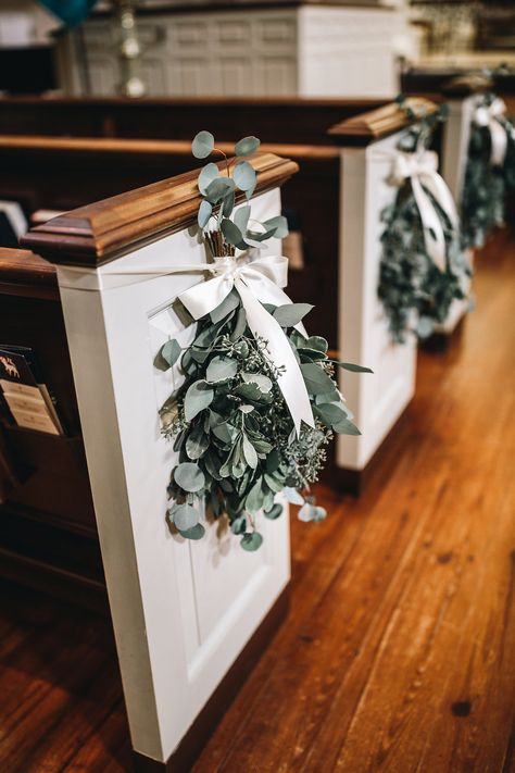 Botanical Inspired Southern Wedding at Ships of the Sea Maritime Museum :: Sarah & John Snippet & Ink - wedding aisle decor, eucalyptus pew decor, wedding chapel Wedding Pews, Wedding Chairs, Ribbon Wedding, Wedding In A Church, Church Weddings, Wedding Venues, Chapel Wedding, Decor Wedding, Wedding Bridesmaids