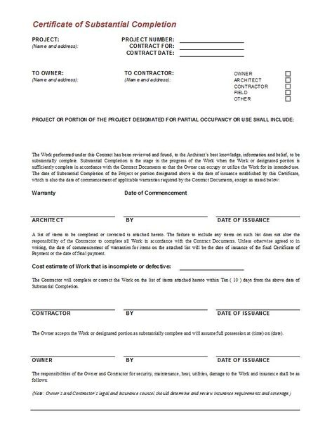 architectural contract documents - Google Search PROP References - certificate of construction completion