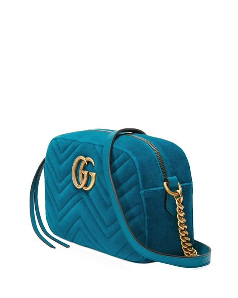 9fca7be677aa Gucci GG Marmont Small Velvet Camera Bag - Pavone/Blue | Gucci bags ...