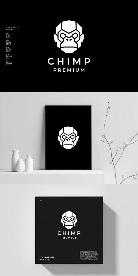 Chimp Robot Logo Template AI, EPS, PSD