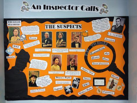 Bulletin board classroom display high school English reading - An inspector calls
