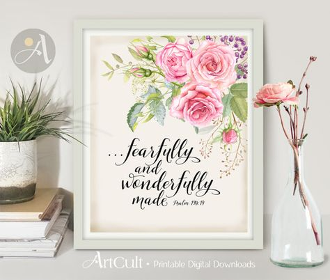 Welcome to ArtCult, printable wall art designs.  ...fearfully and wonderfully made Psalm 139:14 - Printable artwork.  DISCOUNT COUPON CODES: