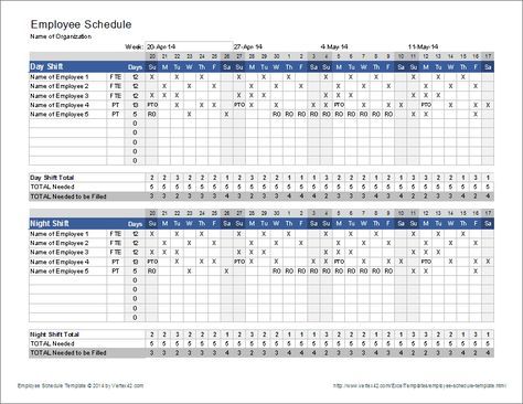 Download the Employee Schedule Template from Vertex42 - timesheet calculator template