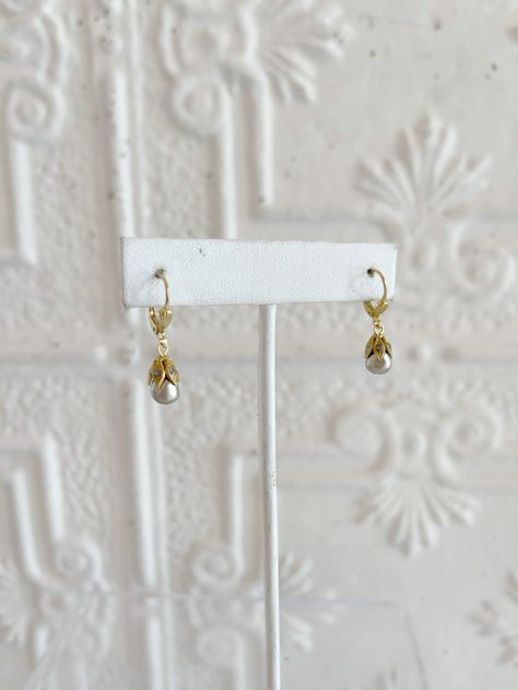 Micro-mini, grey pearl earring with crystals 8823G 14K Gold Plated