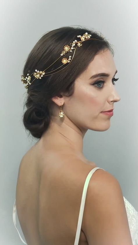 ARIEL HEADPIECE-wedding hair accessories, wedding crown, gold crown, wedding crown, wedding tiara,