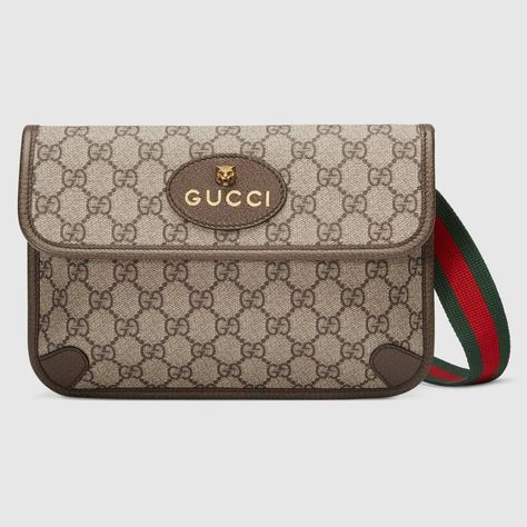 0210a6642 Shop the GG Supreme belt bag by Gucci. The belt bag in GG Supreme has a  retro influenced design. Trimmed with leather, the style is meant to be  worn along ...