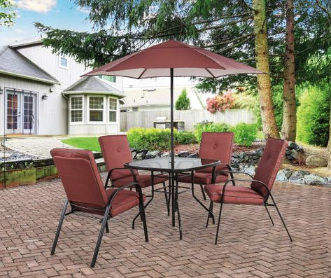 Wilson Fisher Ash Ridge Red 6 Piece Cushioned Patio Dining Set With Umbrella Big Lots Patio Outdoor Patio Decor Patio Dining Set
