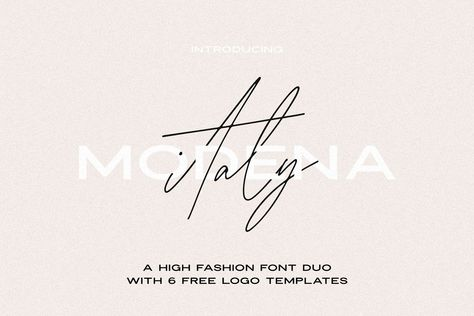 Ad: Modena | High Fashion Font Duo with 6 Free Logos ~ Sans Serif Fonts ~ Creative Market, By: Jen Wagner Co. Great for girl bosses, bloggers for creating social media graphics, wedding invitations, logos and more. $22