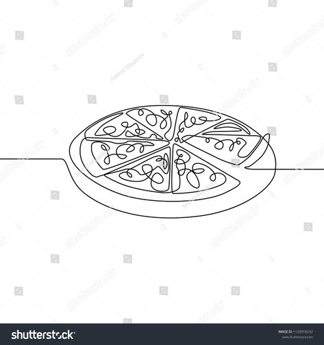 Continuous Line Pizza Fast Food Vector Stock Vector (Royalty Free) 1120918232
