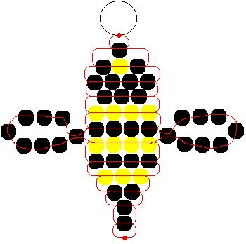 Instructions and Patterns for Pony Beads: Lady Bug, Bumble Bee and Gecko Pony Bead Patterns - Fun Activity for Kids.Bumble Bee Ponybead Pattern (could also make this into fire fly)pony bead bee - wings should be clear, i thinkSociety Of Arts And Crafts Pony Bead Projects, Pony Bead Crafts, Beading Projects, Beading Tutorials, Pony Bead Patterns, Beaded Jewelry Patterns, Beading Patterns, Bracelet Patterns, Loom Patterns