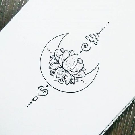 Unalome Tattoo Moon Lotus