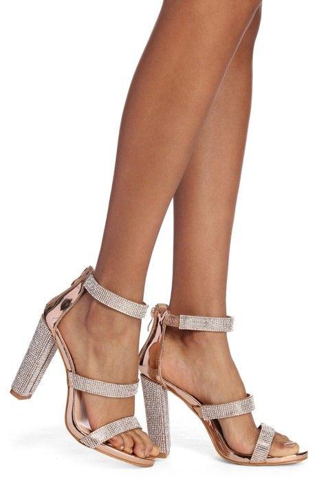Glitz And Glam Rhinestone Block Heels in 2019 | Prom heels