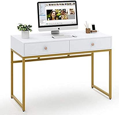 Tribesigns Computer Desk Modern Simple 47 Quot Home Office Desk Study Table Writing Des Minimalist Desk Design Writing Desk With Drawers Modern Computer Desk