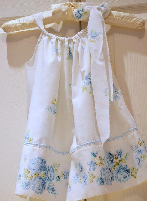 Toddler Shabby Chic Blue Floral vintage pillowcase dress..
