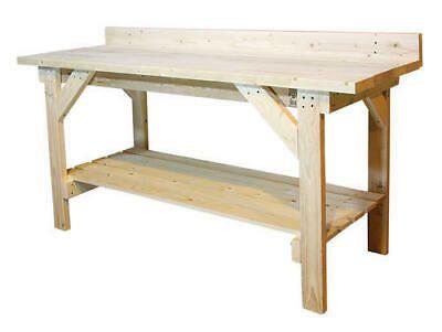 6 Heavy Duty Natural Wood Garage Workbench 2 Shelf Basement Storage Work Table Ebay In 2020 Wooden Work Bench Garage Work Bench Diy Workbench