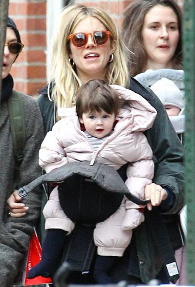 Sienna Miller went shopping with daughter Marlowe in Chilly NYC on Feb. 24.