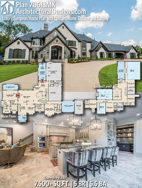 Plan 70613mk Luxury European House Plan With Upstairs Home Theater And Balcony Luxury House Plans European House House Plans