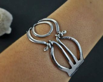 Image Result For Fork Bracelet With Stone Fork Bracelet Unique Items Products Handcrafted Jewelry