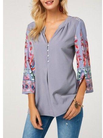 Shmily Girl Mujeres Camisa Elegante Blusa Mangas Largas Camiseta Polsillo Escote V