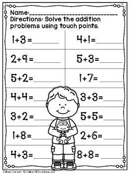 Touch Point Worksheet Spring Math Addition Worksheets Touch Math Worksheets Touch Math
