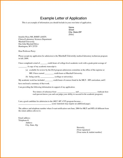 application letter for university example how write cover letters - letter of credit