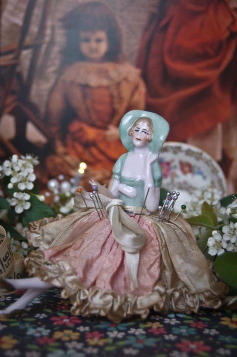 Seltene Teepuppe Halbpuppe Porzellan Porcelain Half Doll TOP Antik