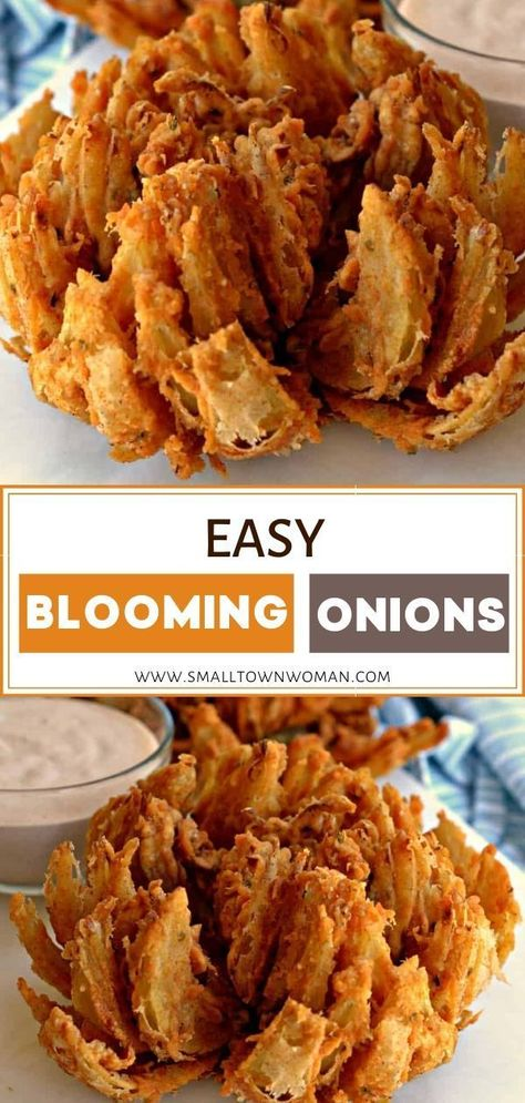 These easy Blooming Onions are double coated with a slightly spicy breading and deep fried to golden perfection. Just as tasty as any Outback restaurant. Blooming Onion Air Fryer, Onion Blossom Recipe, Fried Onions Recipe, Recipe For Fried Onion Rings, Recipe With Onions, Fries Recipe, Blooming Onion Recipes, Blooming Onion Sauce, Grilled Blooming Onion Recipe