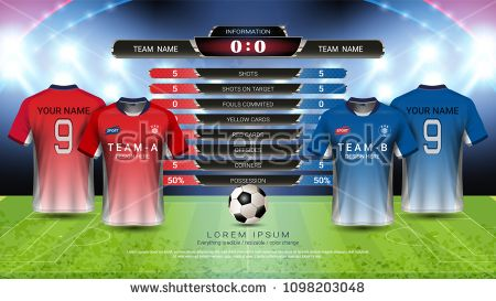 Football Cup Or World Championship Sport Event Soccer Jersey Mock Up And Scoreboard Match Vs Strategy Broadcast Graphic Template For Presentation Score Or Gam Sport Event Football Cups Soccer Jersey