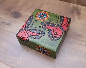 Custom Flower and Butterfly Turquoise Trinket Box I Floral Decor I Bathroom Decoration I Keepsake Box I Blue Jewelry Box I Stash Box I Gift