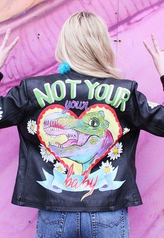 Not Yours Hand-Painted Vintage Leather Jacket