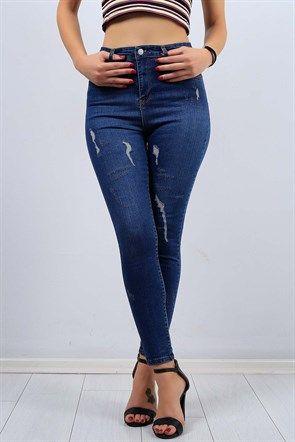 Yirtik Desen Mavi Bayan Likrali Kot Pantolon 9327b Moda Stilleri Denim Jeans Yirtik Kotlar